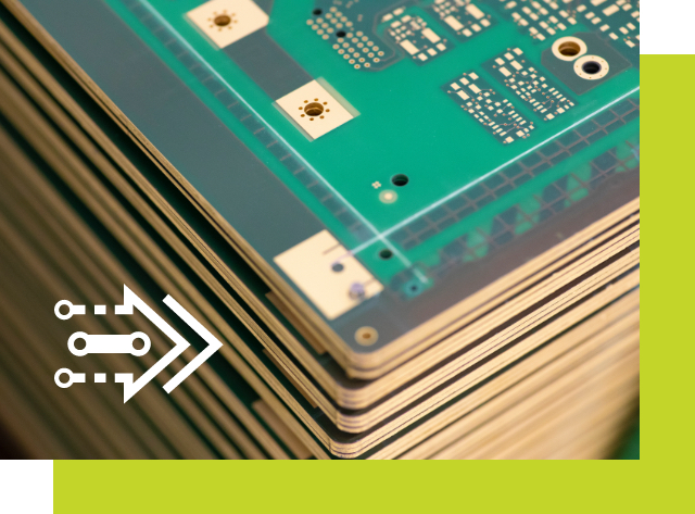 Detailed view of several stacked PCB boards