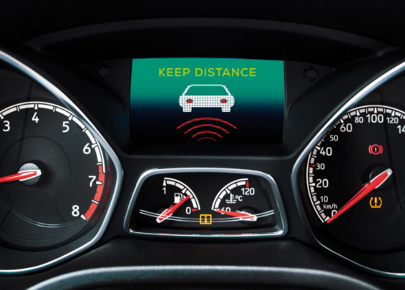 Photo of an adaptive cruise control display in a car