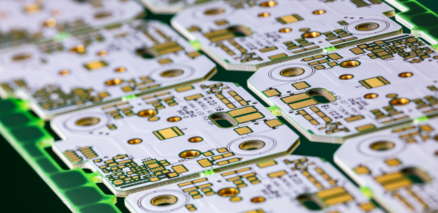 Close-up of a printed circuit board for LED applications