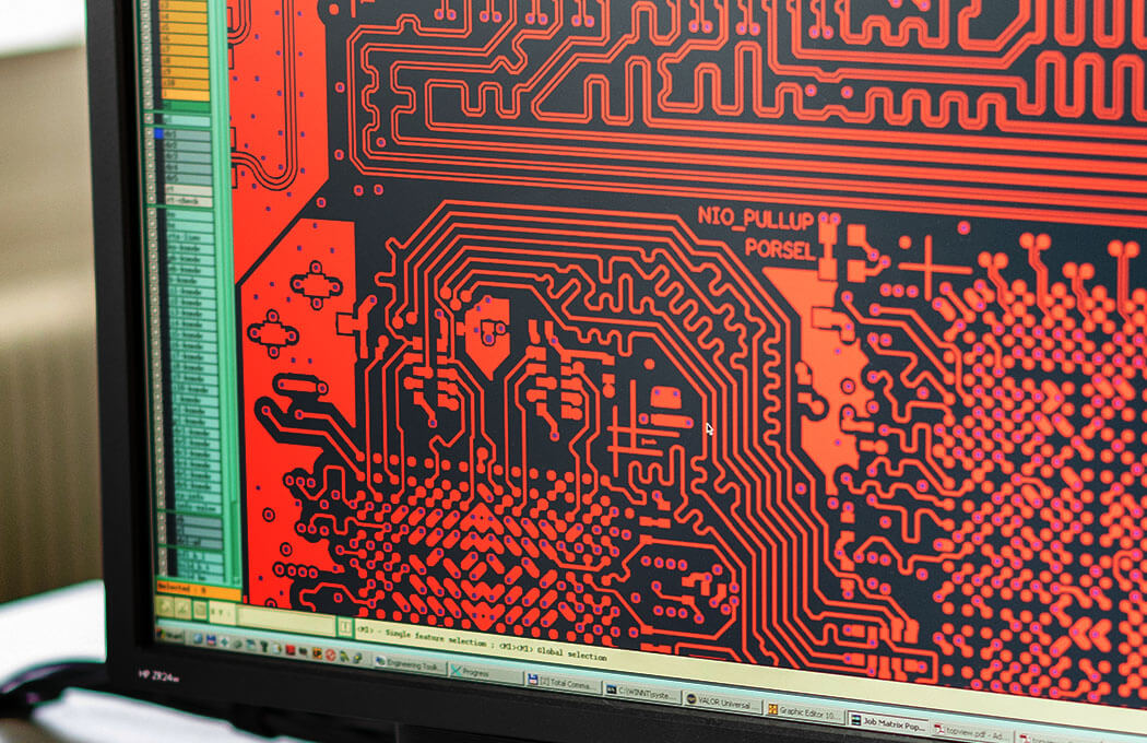 Layout of a printed circuit board on the computer
