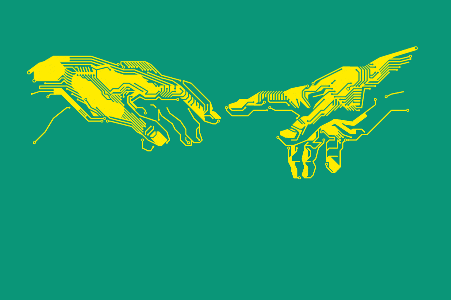 The image shows the creation of Adam by Michelangelo in printed circuit board optics and symbolises successful cooperation