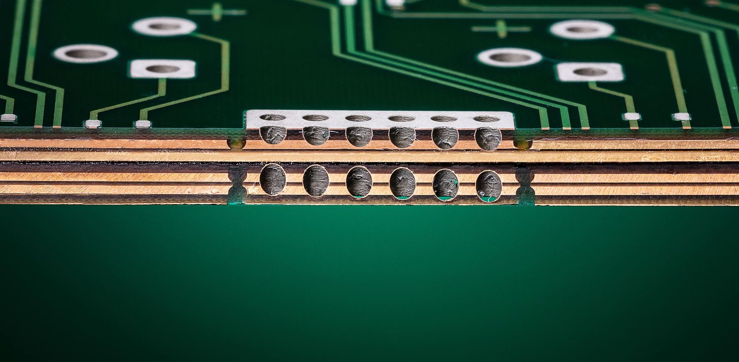 Close-up of a thick copper PCB