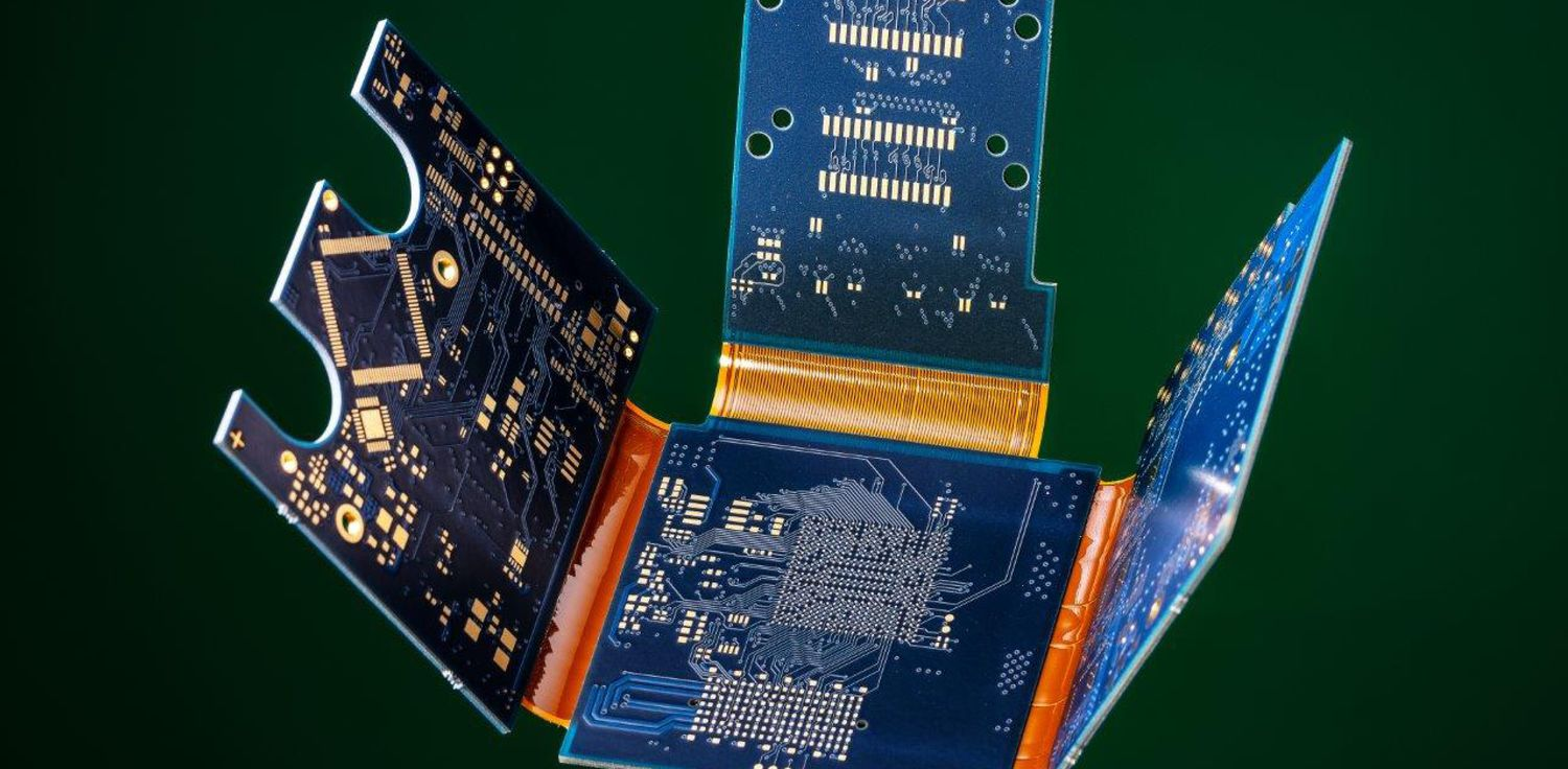Detail view of a rigid-flex PCB