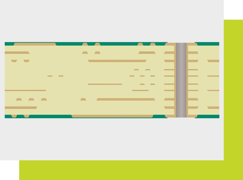 Technical drawing of a multilayer PCB
